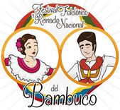 Traditional Colombian Bambuco Dancers and Flags for Folkloric Festival Event, Vector Illustration