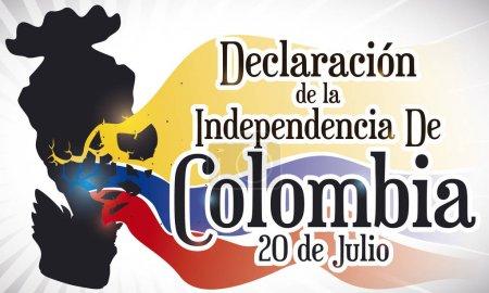 Flower Vase Broken with Tricolor Flag for Colombian Independence Day, Vector Illustration