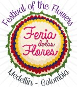 Beautiful Patriotic Silleta for Colombian Festival of the Flowers, Vector Illustration