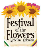 Floral Arrangement and Scroll for Colombian Festival of the Flowers, Vector Illustration
