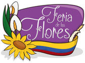 Floral Design with Flag for Colombian Festival of the Flowers, Vector Illustration