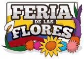 Patriotic and Floral Arrangement for Colombian Festival of the Flowers, Vector Illustration