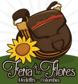 Traditional Carriel Bag and Sunflower to Celebrate Colombian Flower Festival, Vector Illustration