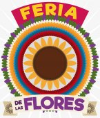 Colorful Silleta with Ribbons for Colombian Festival of the Flowers, Vector Illustration