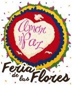 Colombian Silleta and Confetti Rain for Festival of the Flowers, Vector Illustration