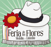 Colombian Poncho, Hat and Flower for Festival of the Flowers, Vector Illustration
