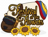 Colombian Carriel, Sunflowers and Flag for the Flowers Festival, Vector Illustration
