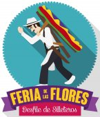 Button with Silletero Design and Ribbons for Colombian Flowers Festival, Vector Illustration