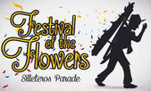 Traditional Silletero Silhouette and Petals for Colombian Flowers Festival, Vector Illustration