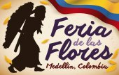 Female Silletero, Colombian Flag and Petals for Flowers Festival, Vector Illustration