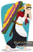 Traditional Woman Carrying a Silleta for Colombian Flowers Festival, Vector Illustration