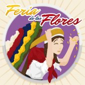 Round Button with Beautiful Woman Carrying a Silleta for Flowers Festival, Vector Illustration