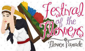 Poster with Woman Carrying a Traditional Silleta for Flower Festival, Vector Illustration