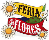 Floral Arrangement over Colombian Ribbon for Festival of the Flowers, Vector Illustration