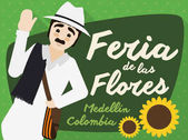 Traditional Colombian Arriero over Sign for Festival of the Flowers, Vector Illustration