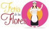 Female Paisa over Flower for Colombian Flowers Festival Celebration, Vector Illustration