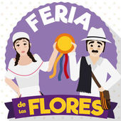 Traditional Arriero Couple Celebrating with Prize in Colombian Flowers Festival, Vector Illustration
