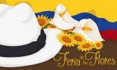 Colombian Arriero Hat, Flag and Floral Arrangement for Flowers Festival, Vector Illustration