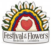 Colombian Colors in Floral Arrangement for Colombian Flowers Festival, Vector Illustration