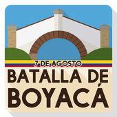 Flat Design Commemorating Boyaca's Battle with Colombian Boyaca Bridge Landmark Vector Illustration