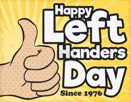 Illustration pour Affiche rétro commémorant la Journée internationale des gauchers depuis 1976 avec un geste de pouce dans le style pop art . - image libre de droit