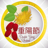 Round Button with Dogwood and Chrysanthemum for Double Yang Festival, Vector Illustration