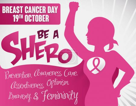 Illustration for Poster with brave female superhero -or shero- silhouette with headscarf, cape and pink ribbon, promoting precepts about Breast Cancer Day in October 19. - Royalty Free Image