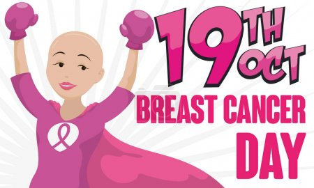 Illustration for Banner with victorious bald female hero -or shero- with box gloves and cape celebrating Breast Cancer Day in October 19. - Royalty Free Image