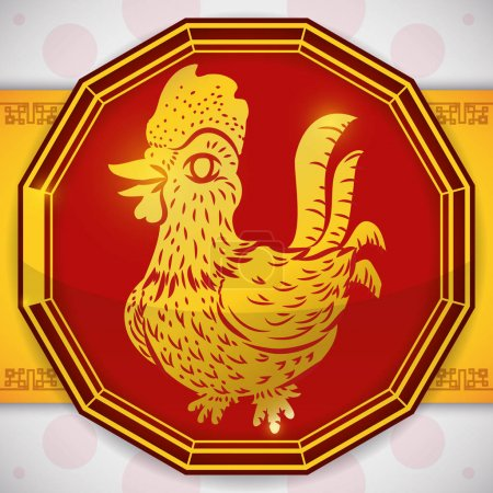 Illustration pour Silhouette de coq de couleur dorée sur un bouton rouge à douze côtés pour zodiaque chinois . - image libre de droit