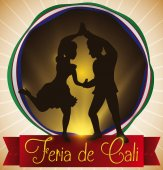 Button with Salsa Dancers Silhouette and Ribbon for Fair's Cali Vector Illustration