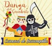 Garabato Character and Death Dancing in Barranquilla's Carnival Vector Illustration