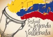 Hand Drawn Caja and Tricolor Brushstrokes for Vallenato Legend Festival Vector Illustration