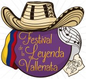 Button Vueltiao Hat Flag Stamp and Stave for Vallenato Festival Vector Illustration