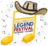 Golden Musical Note with Vueltiao Hat for Vallenato Legend Festival Vector Illustration