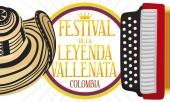 Commemorative Design with Hat and Accordion for Vallenato Legend Festival Vector Illustration