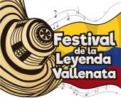 Festive Vueltiao Hat and Musical Notes for Vallenato Legend Festival Vector Illustration