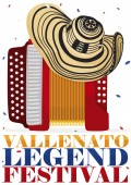 Traditional Vueltiao Hat over Accordion for Vallenato Legend Festival Vector Illustration
