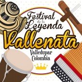 Traditional Elements to Celebrate the Colombian Vallenato Legend Festival Vector Illustration