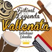 Traditional Elements to Celebrate the Colombian Vallenato Legend Festival Vector Illustration