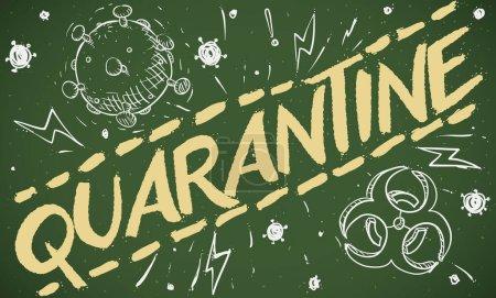 Illustration pour Tableau avec griffes favorisant la quarantaine pendant la pandémie de COVID-19 avec quelques symboles : représentation du coronavirus, symbole de danger biologique et éclairs . - image libre de droit