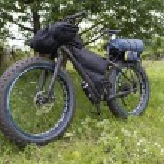 Fatbike with bikepacking and drybag