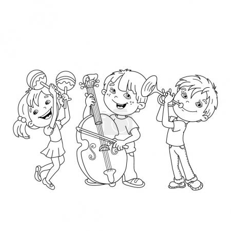Coloring Page Outline Of children playing musical instruments. Coloring book for kids