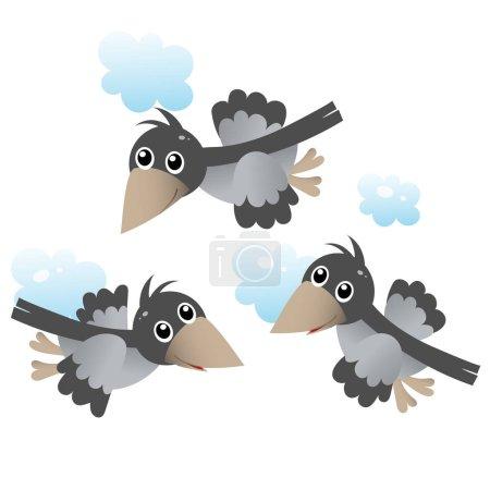 Illustration pour Image en couleur de bande dessinée troupeau de corbeaux dans le ciel sur fond blanc. Des oiseaux. Illustration vectorielle pour enfants . - image libre de droit
