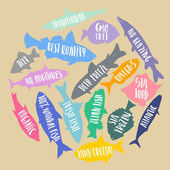 Vector set of stylized fish with handwritten lettering in the form of circle on cardboard background Poster banner sticker for fresh organic natural sea food