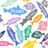 Vector seamless pattern of stylized fish with white handwritten lettering For packaging advertising of  fresh organic natural sea food