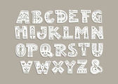 Vector capital alphabet Cut out letters with scandinavian patterns for a laser cutting template of paper and vinyl For monograms initials