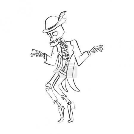 Illustration pour Sceleton dansant. Illustration vectorielle. Silhouette noire sur fond blanc isolé. Peut être utilisé pour la décoration d'Halloween, les impressions, la carte de vœux ou l'invitation . - image libre de droit