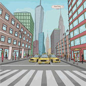 London New York building Empire State Chrysler Building city landscape taxi cars car street people walking vector closeup beautiful comics colorful retro vintage drawing illustration background
