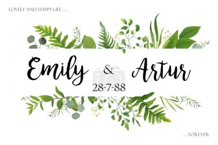Wedding invite invitation card vector floral greenery design: Fo