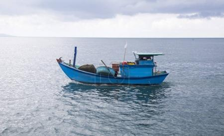 Colorful wooden fishing boat